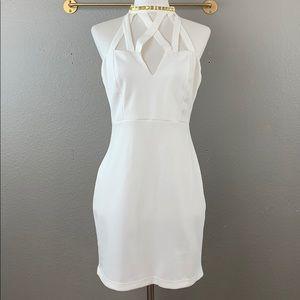 ASOS white mini dress w/ gold studded choker neck
